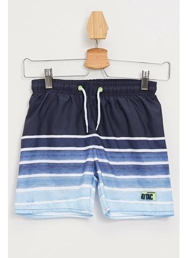 DeFacto Çizgili Yüzme Şortu Mavi